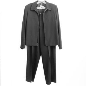 Women's Rafaella Black Zipper Suit Jacket & Pants
